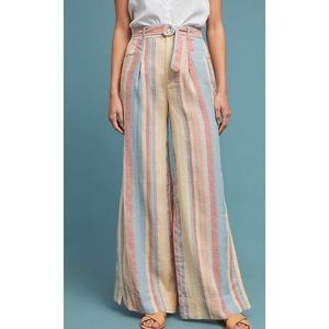 Anthropologie Beachy Wide-Legged Pants with Stripe
